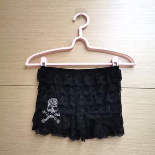黑色蕾絲骷髏頭鑽鑽安全褲