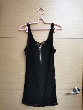 黑色蕾絲拉鏈背心洋裝