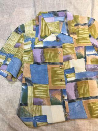 🚚 日本製 短袖 古着雪紡彩色格子襯衫 vintage