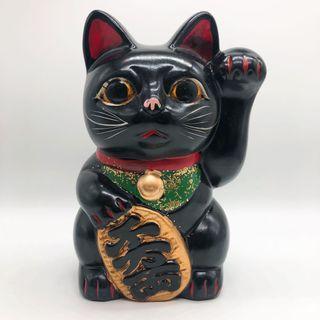日本黑色 復古商業繁榮招財貓