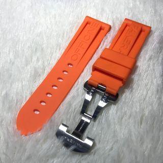 Panerai Aftermarket 24mm Logo Orange Rubber Strap with Deployant Clasp