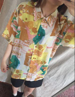 短袖 古着 亮系彩繪花襯衫 vintage 絲質襯衫
