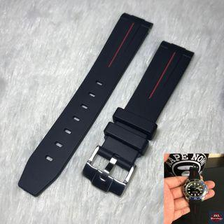 """Rolex Red Lining Stripe """"Racing"""" Rubber Straps Compatible With Tang Buckle"""