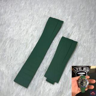 Rolex Green Rubber Straps Compatible With Original Clasp