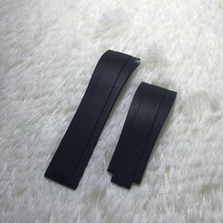 "Rolex Black ""Oyster Flex"" Rubber Straps Compatible With Original Clasp"