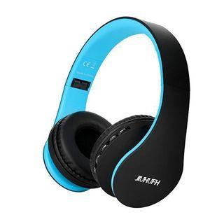 R[HG19] Wireless Headset On Ear, JIUHUFH Foldable Bluetooth Headphone with Built-in Microphone/3.5mm Wired Audio-in/Comfortable Earpads for PC/Cell Phones- Black Blue