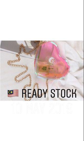 Pink Heart Sling Hologram Bag - ready stock
