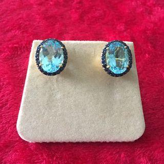 Lovely!! Blue topaz with blue sapphire earrings