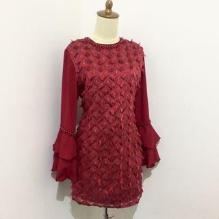 Atasan blouse wanita tunik merah maroon