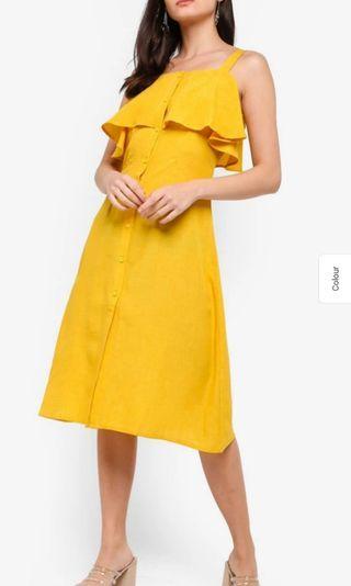 Flirty ruffle yellow dress