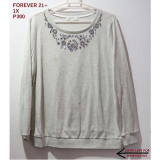 Forever 21+ Embellished Gray Sweater