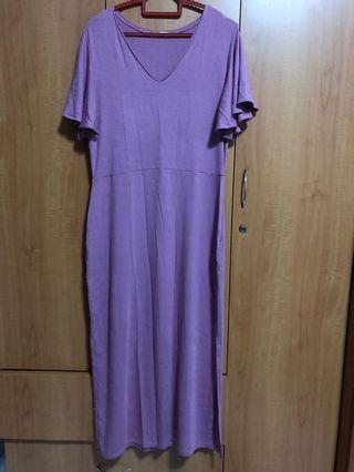 Purple Midi cotton Dress