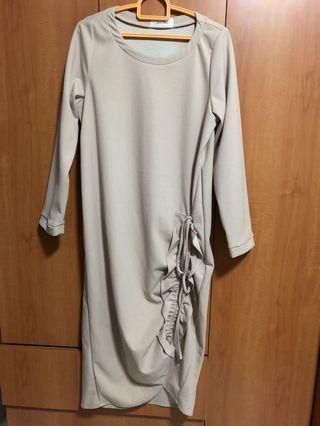 Korean Beige Long Dress