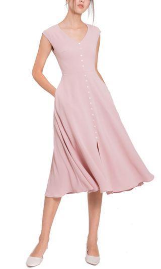 Demure dress in blush