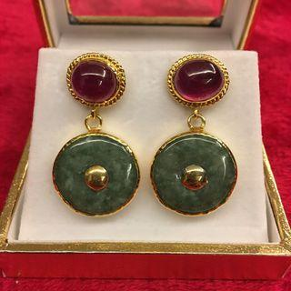 Genuine ruby with Burmese A grade jade earrings (vintage look)