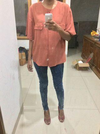 Soft peach vintage blouse