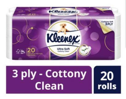 Kleenex Tissue 3ply 20 Roll US Cottony Clean