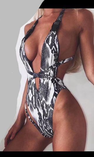 Sexy snake print monokini/bodysuit