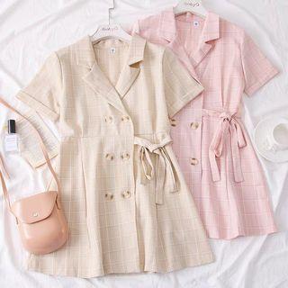 Checkered Button Coat Dress