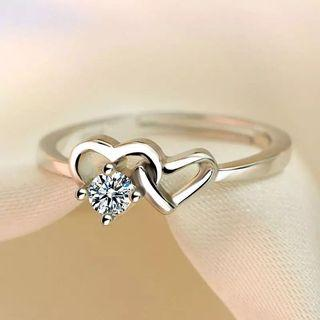 Women engagement Heart interlock Diamond Ring Adjustable free size