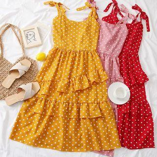 High Tea Polka Dot Ruffled Dress