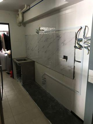 Overtiles for backsplash/ kitchen base/ concrete sink