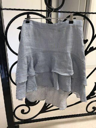 Bardot Size 10 Striped Ruffle Skirt