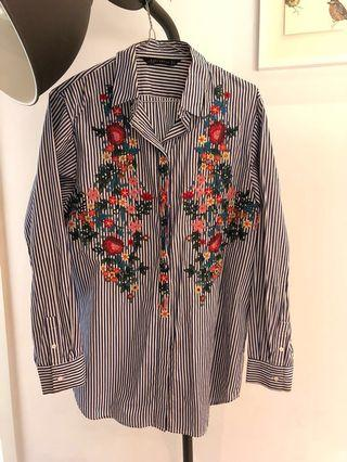 Zara Oversized Shirt with Floral Detail