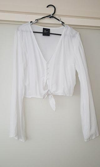 All about eve white button up crop never worn