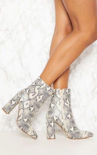 Beige Faux Snake Ankle Boot Size 8