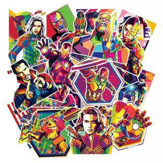 (Stickers) 50pc Marvel Avengers DC Superheroes Watercolor Geometric Style Assorted