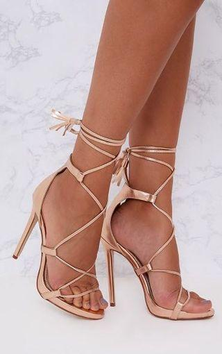 Rose Gold PU Tassel Lace Up Heels Size 8