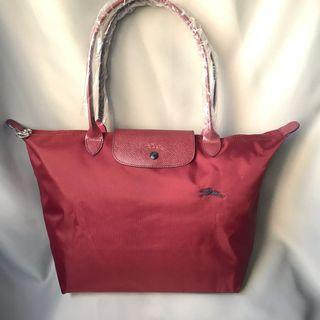 Longchamp Le Pilage Club maroon red