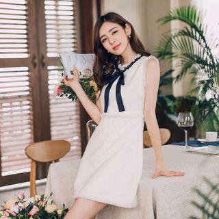 ❤️Chic ❤️ Chanel Style Monotone Tweed Dress