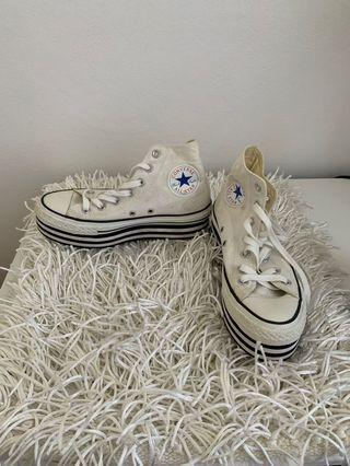 CONVERSE Limited Edition Designer Shoes Chuck Taylor all Star Platform Layer White Sneakers