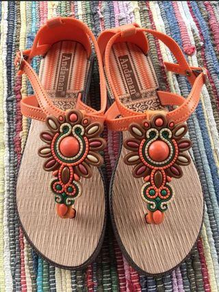 Andaman Boho Orange and Brown Sandals size 6