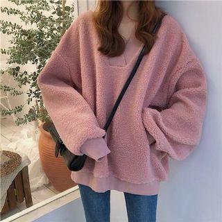 pink/white plush v neck hoodie sweater