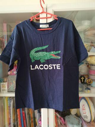 Lacoste x Beams boy日版大logo寶藍色tee