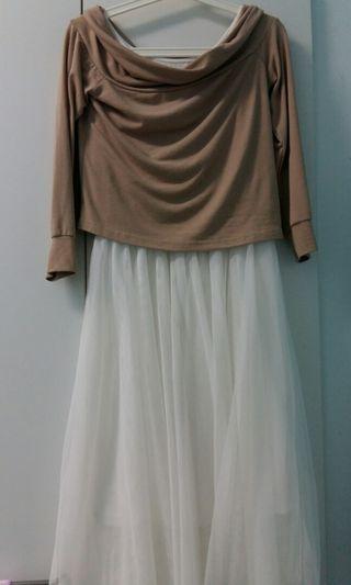 🚚 【天母嚴選】兩件式一字領針織上衣&三層紗背心長洋裝套裝
