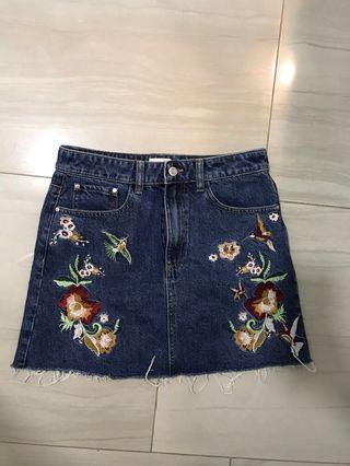Floral Denim Skirt yishion embriodery