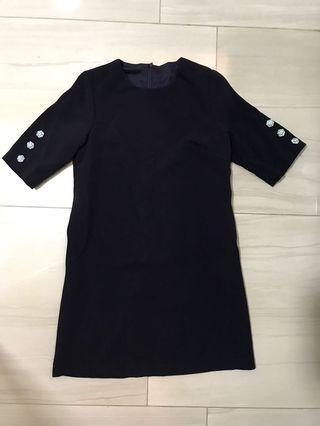 Navy premium cut label straight cut sleeved dress