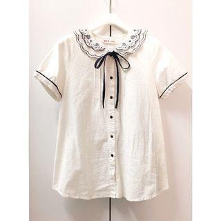 🚚 日本古著甜美繡花領純棉襯衫