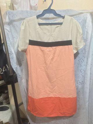 Peach Colorblock Dress