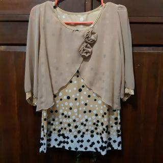 Baju formal/ blouse coklat bunga