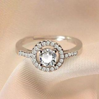 Women Round Engagement Diamond Ring Adjustable free size