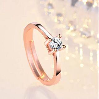 Women Rose Gold Diamond Ring Adjustable Free size