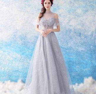 Wedding Bride Grey Evening Gown Dress