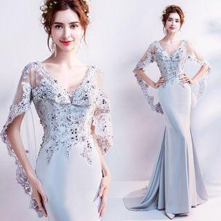 Grey Wedding Dress Evening Gown