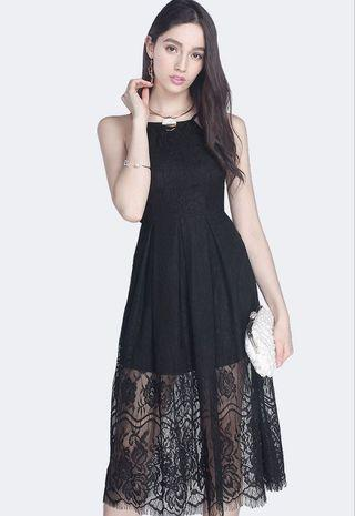 Black lace midi dress