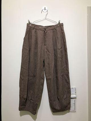 🚚 賣到6/2_Glove gloop副牌 麻質棕色立體褲腳九分褲 七分褲 尺寸S